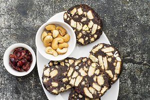Chocolate salami with nuts and dried