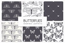Butterflies. Seamless Patterns Set