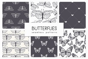 Butterflies. Seamless Patterns Set