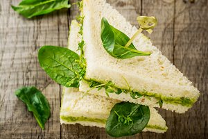 Toasts with watercress and avocado c