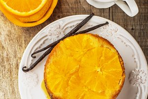 Homemade orange cake upside down