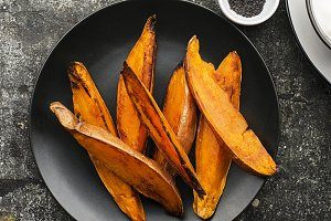 Baked slices of sweet potatoes for a