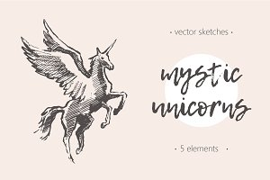 Illustrations of unicorns