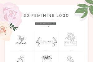 30 Feminine Logo Bundle V.1(PSD)