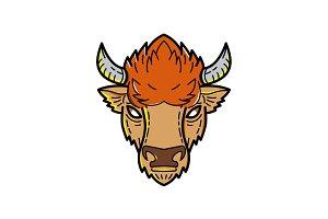 European Bison Mono Line Art