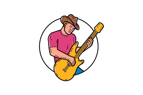 Cowboy Rocker Guitarist Mono Line Ar