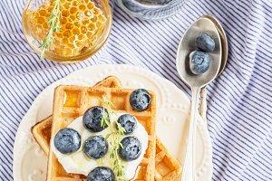 Belgian golden waffles for breakfast