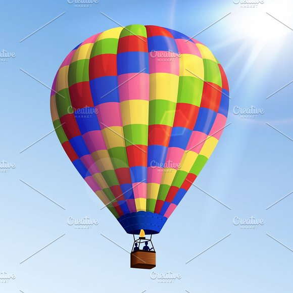 Realistic Colorful Air Balloon