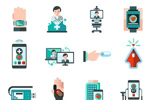 Digital medicine icons set