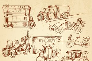 Vintage transport sketch icons