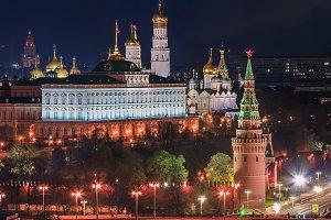 Night panorama of the Moscow Kremlin