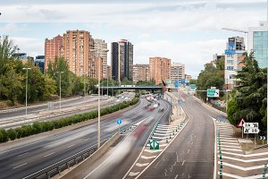 M30 Motorway in Madrid a cloudy day