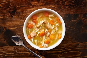 chicken noodle soup top down