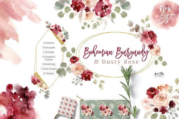 Bohemian Burgundy Dusty Rose