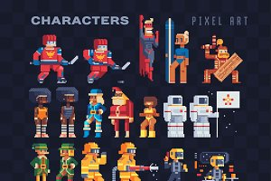 Characters pixel art icons set.