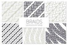 Braids. Seamless Patterns Set