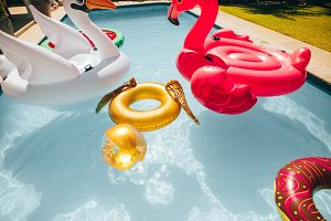 Colorful inflatable toys floating