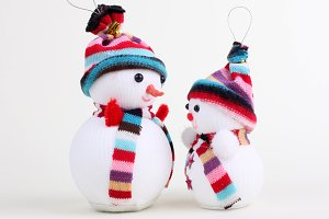 two snowman on white