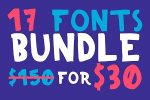 All My Fonts Bundle 17 Fonts