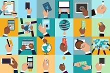Flat hands with business objects Set