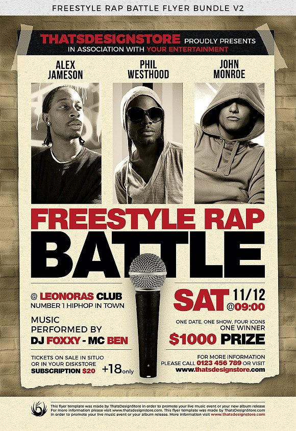 freestyle rap battle flyer bundle v2 flyer templates creative market