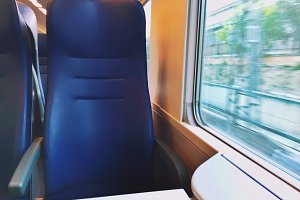 Empty seat on a moving train