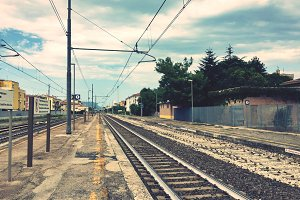 Railroad in a desert station