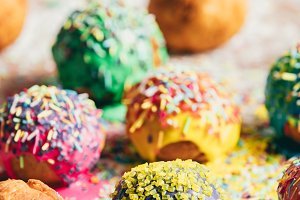 Colorful doughnuts on a kitchen coun