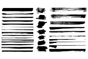 Set of different grunge brush stroke