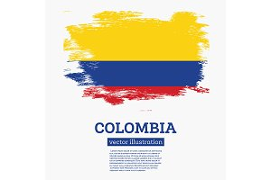 Colombia Flag with Brush Strokes.