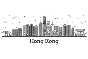 Outline Hong Kong China City Skyline