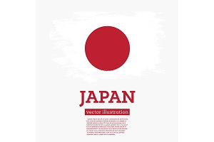 Japan Flag with Brush Strokes.