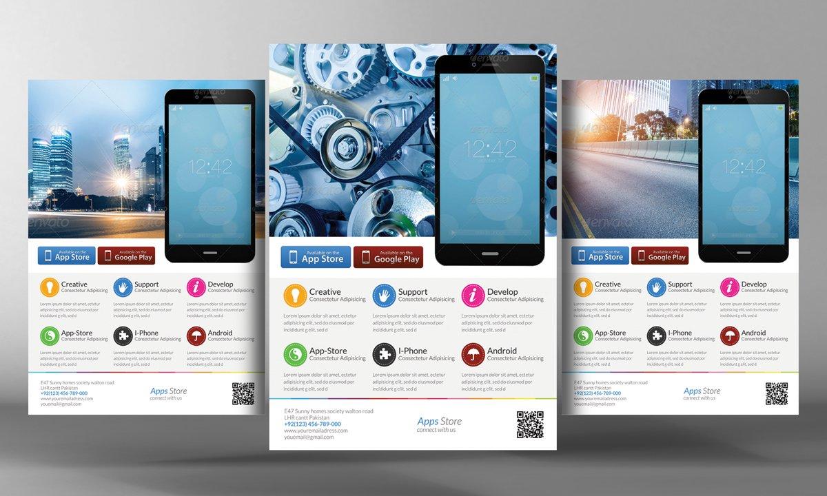 mobile apps flyer template flyer templates creative market