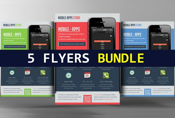 5 mobile app flyers bundle flyer templates creative market