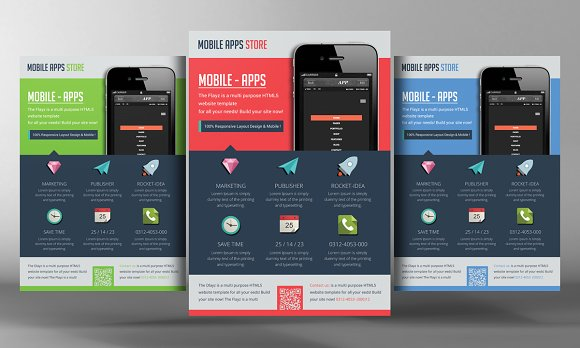5 Mobile App Flyers Bundle in Flyer Templates - product preview 1