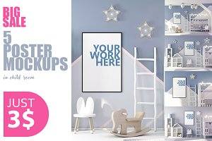 PSD Posters mockup in child interior