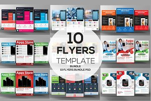 10 Mobile App Flyers Bundle