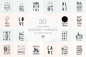 Hand Drawn Nursery Art EPS PSD PNG