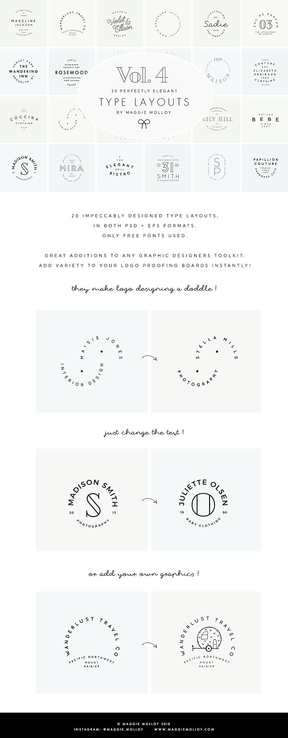 Type Layouts Vol. 4 Text Based Logos in Logo Templates