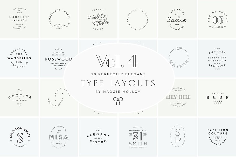 Type Layouts Vol. 4 Text Based Logos