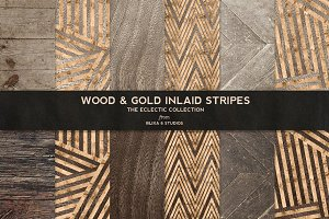 Wood & Gold Inlaid Stripes