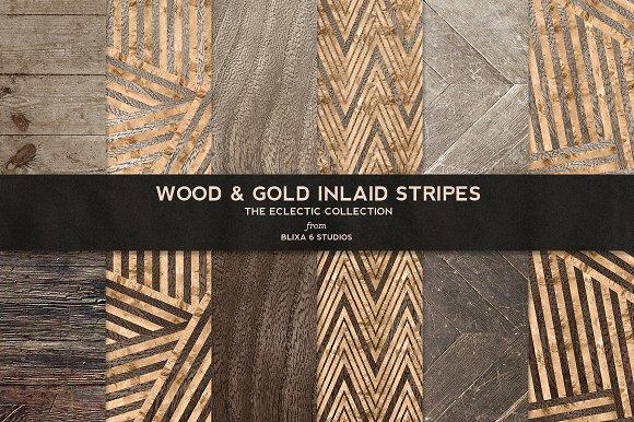 Wood Gold Inlaid Stripes