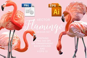 Flamingo Vector Design Set