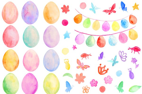 Watercolor Easter Eggs and Buntings