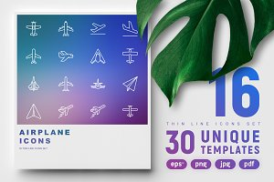 Airplane Icons Set | 30 Templates
