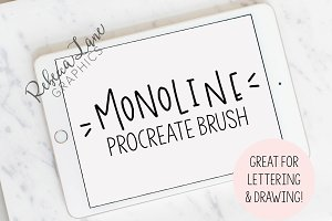 Monoline Lettering Procreate Brush