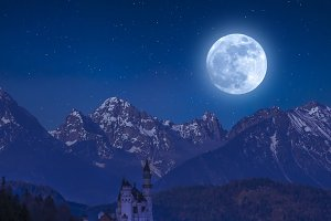 Neuschwanstein castle and moon