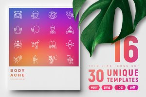 Body Ache Icons Set | 30 Templates