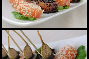Pieces of salmon in sesame