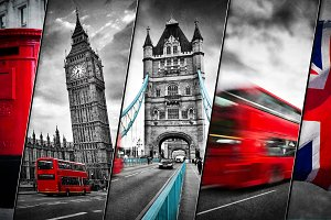 Collage of the symbols of London, th